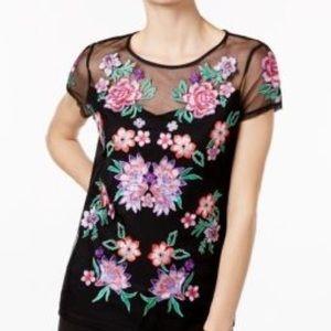 1X INC Int'l Concepts Black / Pink Embellished Top